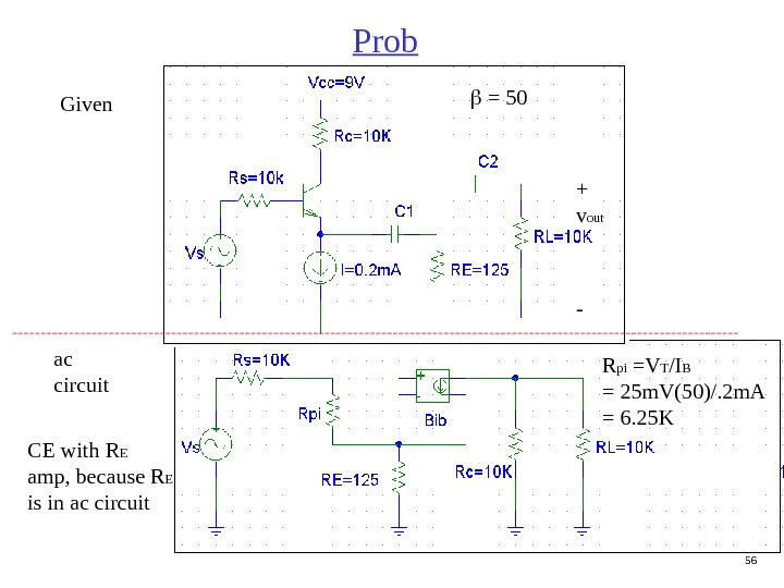 56 Prob + v out -  = 50 ac circuit CE with R E amp,