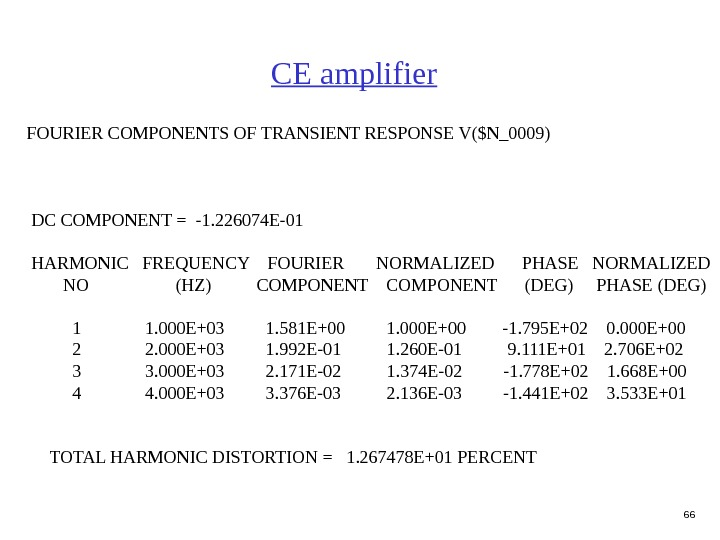 66 FOURIER COMPONENTS OF TRANSIENT RESPONSE V($N_0009)  DC COMPONENT = -1. 226074 E-01  HARMONIC