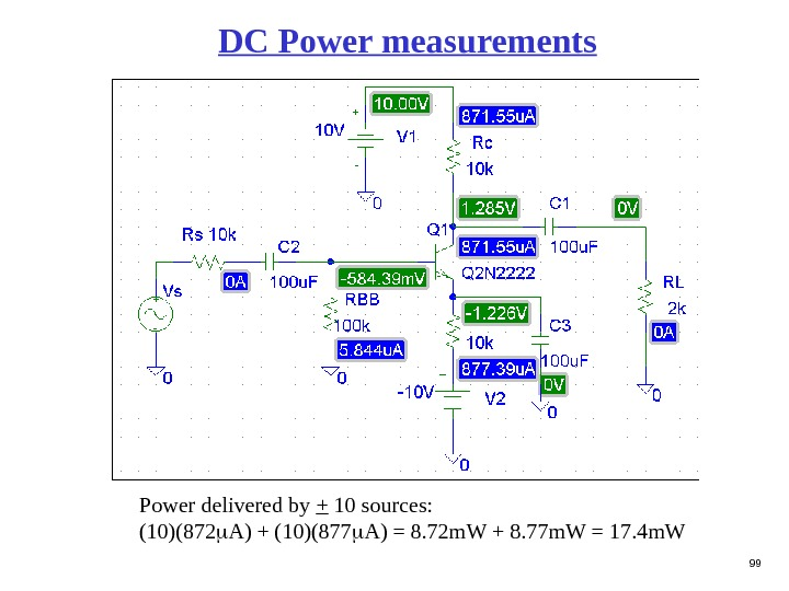 99 DC Power measurements Power delivered by + 10 sources:  (10)(872 A) + (10)(877 A)
