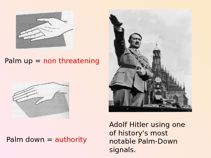 Adolf Hitler using one of history's most notable Palm-Down signals. Palm up = non