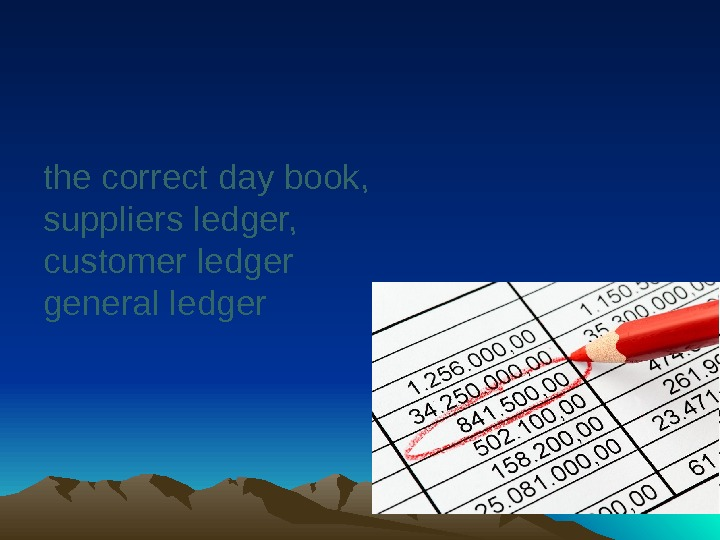 the correct day book,  suppliers ledger,  customer ledger general ledger