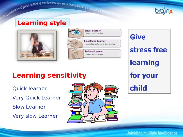 Learning sensitivity Quick learner Very Quick Learner Slow Learner Very slow Learner
