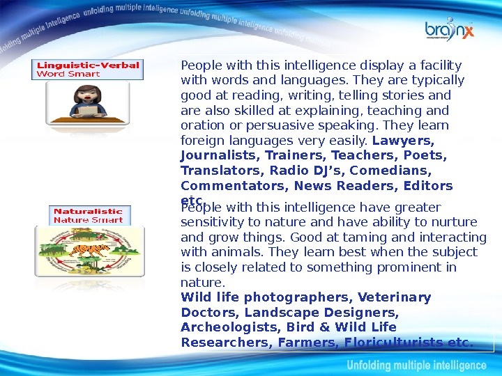 People with this intelligence display a facility with words and languages. They are typically good at
