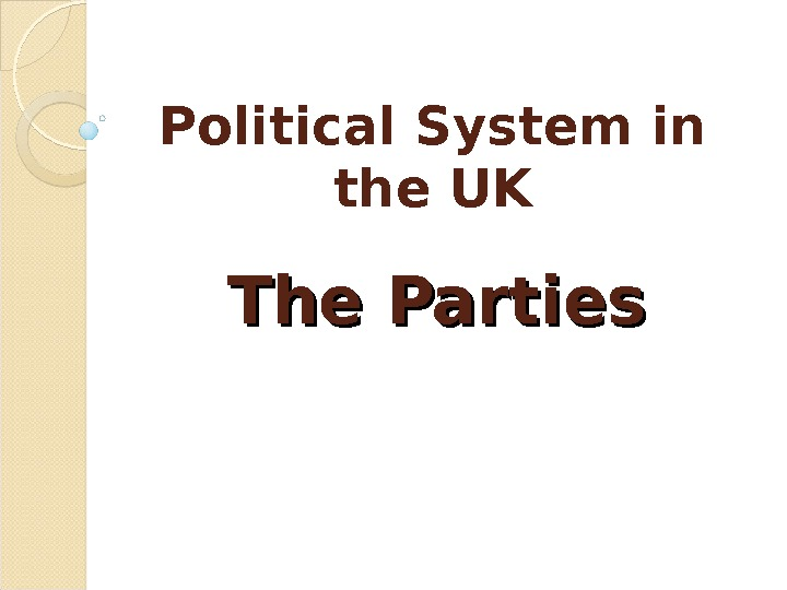 Political System in the UK The Parties