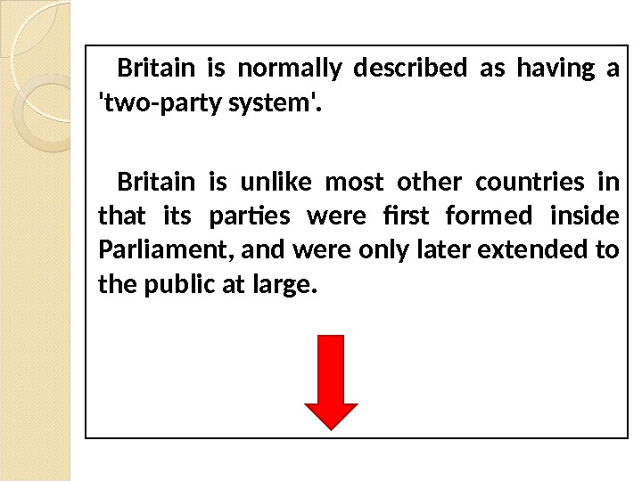 Britain is normally described as having a 'two-party system'.  Britain is unlike most other countries