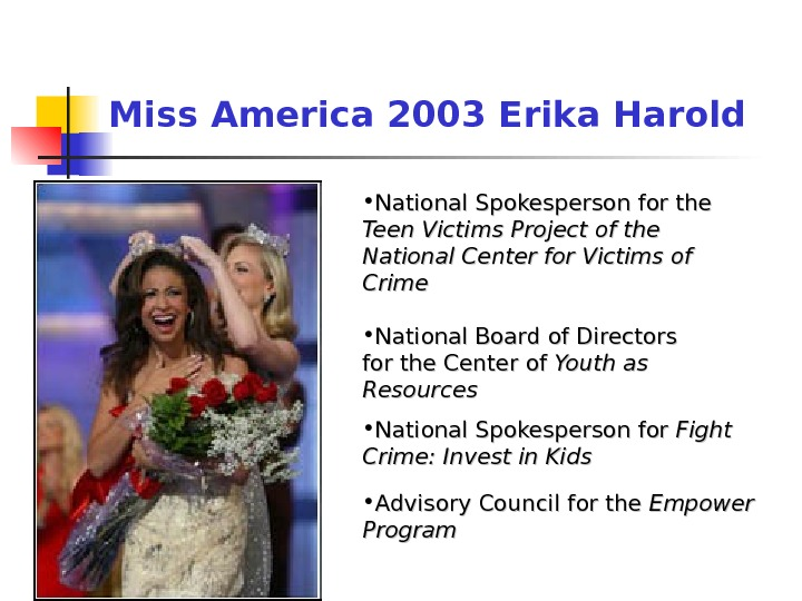 • National Spokesperson for the Teen Victims Project of the National Center for Victims of