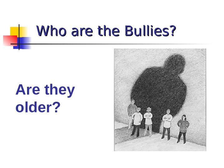 Who are the Bullies? Are they older?