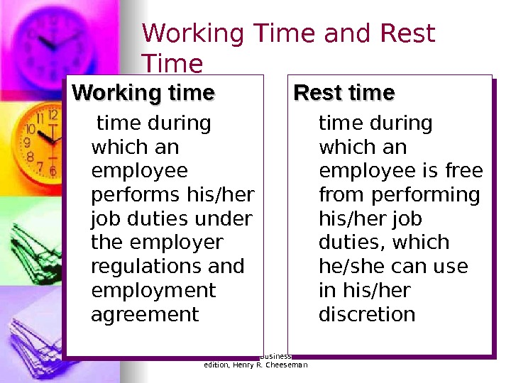 © 2007 Prentice Hall, Business Law, sixth edition, Henry R. Cheeseman. Working Time and Rest Time