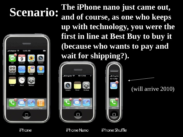Scenario: The i. Phone nano just came out,  and of course, as one