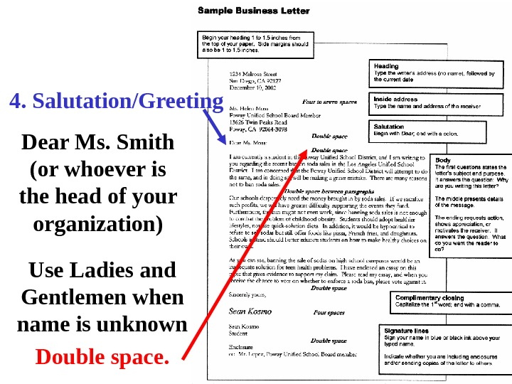 4. Salutation/Greeting Dear Ms. Smith (or whoever is the head of your organization) Use