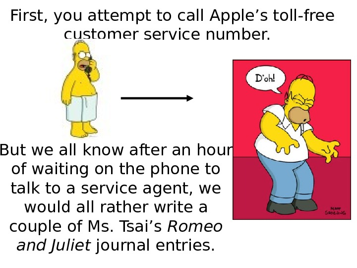 First, you attempt to call Apple's toll-free customer service number.  But we all