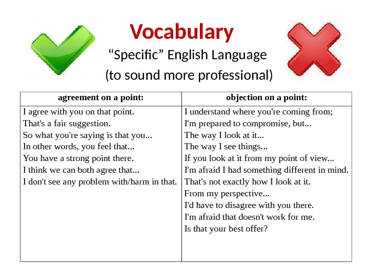 "Vocabulary "" Specific"" English Language (to sound more professional) agreement on a point: objection on a"