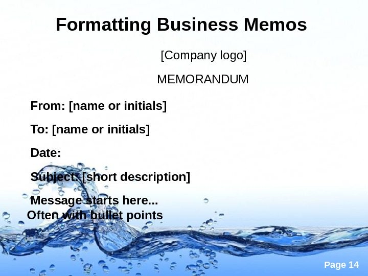 Page 14 Formatting Business Memos    [Company logo]