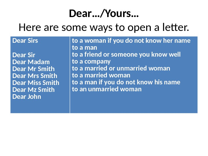 Dear…/Yours… Here are some ways to open a letter. Dear Sirs Dear Sir Dear Madam Dear