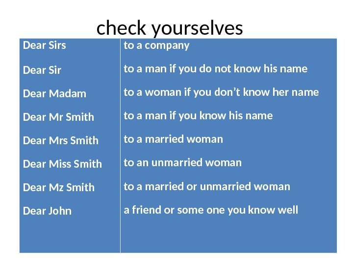 check yourselves Dear Sir Dear Madam Dear Mr Smith Dear Mrs Smith Dear Miss Smith Dear