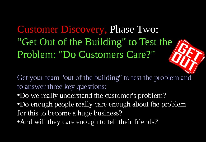 Customer Discovery ,  Phase Two :  Get Out of the Building to Test the