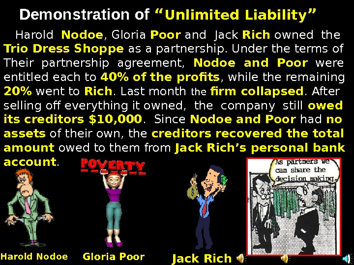 "Demonstration of """" Unlimited Liability """" Harold  Nodoe , Gloria Poor  and Jack Rich"