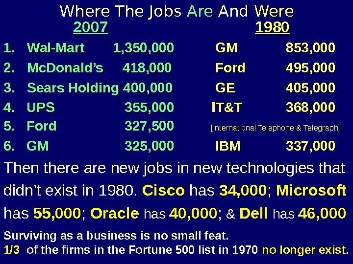 Where The Jobs Are And Were   2007  1980 1. 1. Wal-Mart 1, 350,