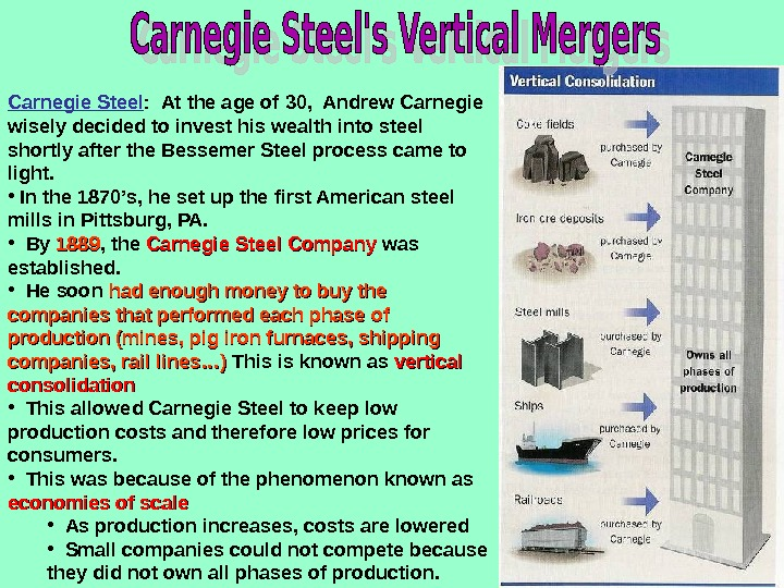 Carnegie Steel :  At the age of 30,  Andrew Carnegie wisely decided to invest