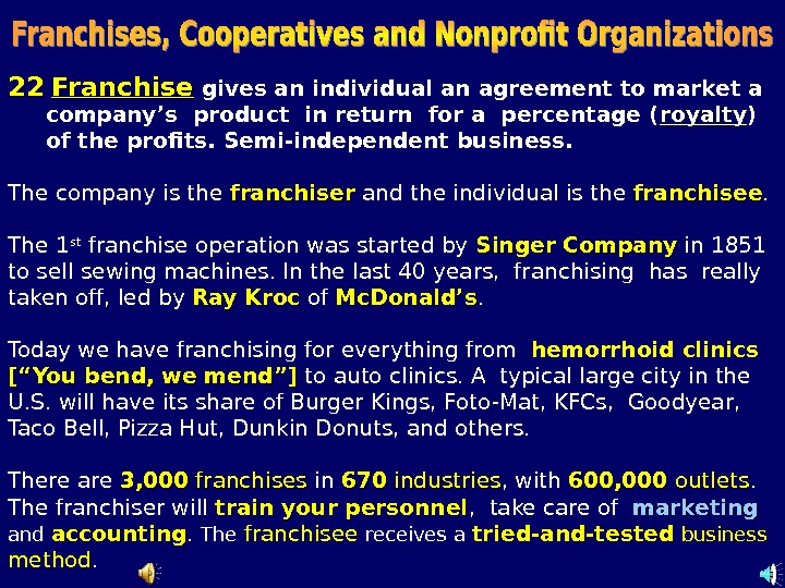 2222  Franchise  gives an individual an agreement to market a  company's product in