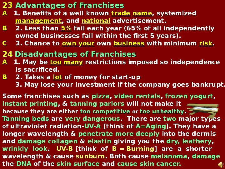 2323  Advantages of Franchises AA 1. Benefits of a well known  trade  name