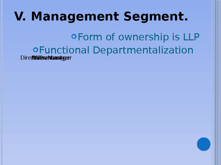 V. Management Segment. Director R&D manager. Sales Manager. Accountant Form of ownership is LLP Functional Departmentalization