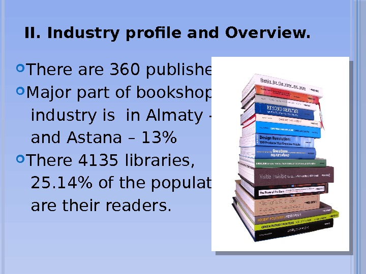 II. Industry profile and Overview.  There are 360 publishers in RK Major part of bookshop