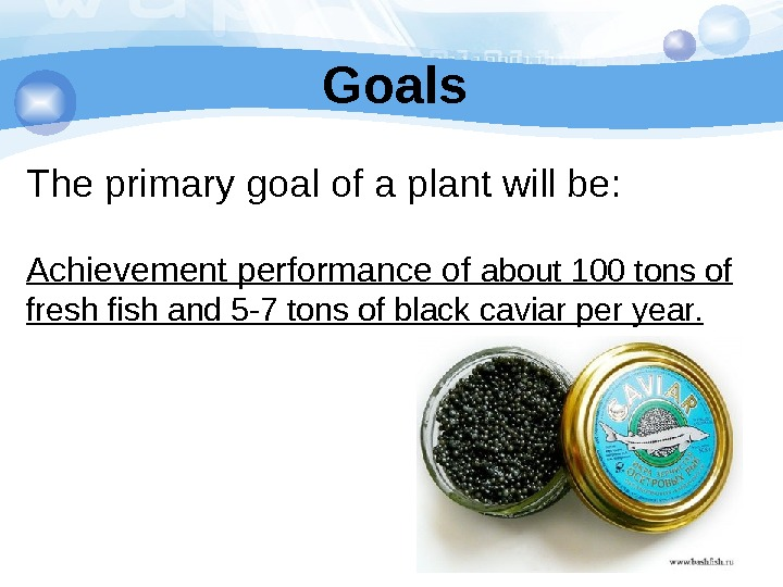 Goals The primary goal of a plant will be: Achievement performance of about 100 tons of