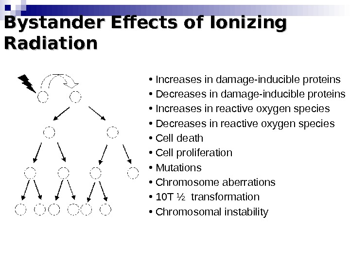 Bystander Effects of Ionizing Radiation •  Increases in damage-inducible proteins •  Decreases in damage-inducible