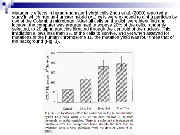 Mutagenic effects in human-hamster hybrid cells  Zhou et al. (2000) reported a study in
