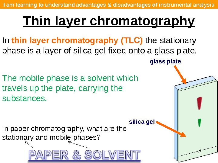 I am learning to understand advantages & disadvantages of instrumental analysis Thin layer chromatography In thin