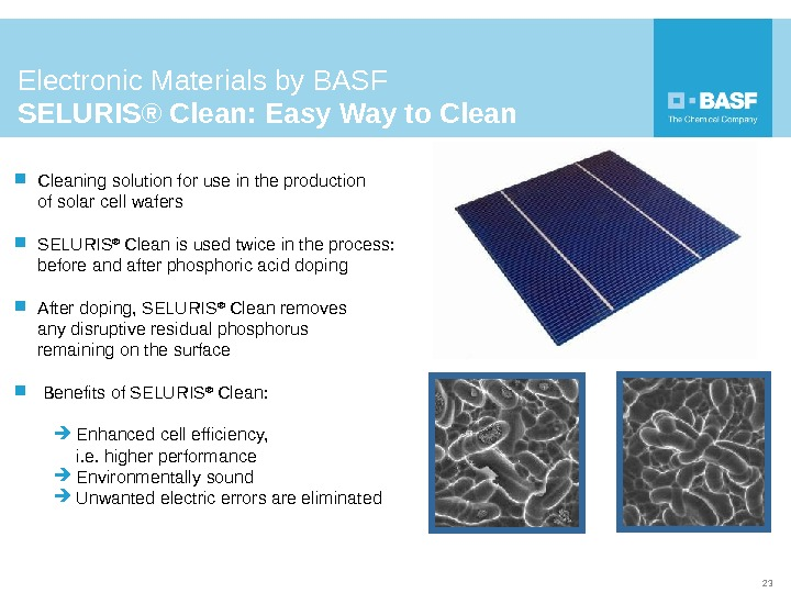 Cleaning solution for use in the production of solar cell wafers  SELURIS ® Clean