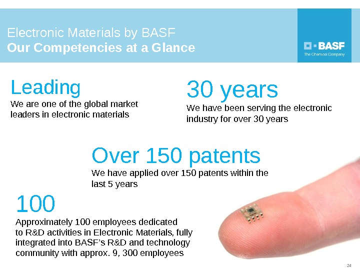 Electronic Materials by BASF Our Competencies at a Glance 2430 years   We have been