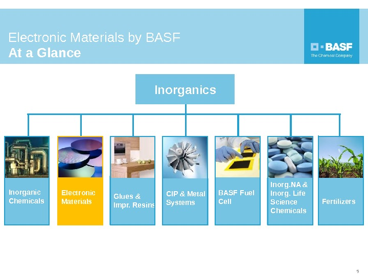 Inorganics Glues & Impr. Resins. Inorganic Chemicals CIP & Metal Systems. Electronic Materials BASF Fuel Cell
