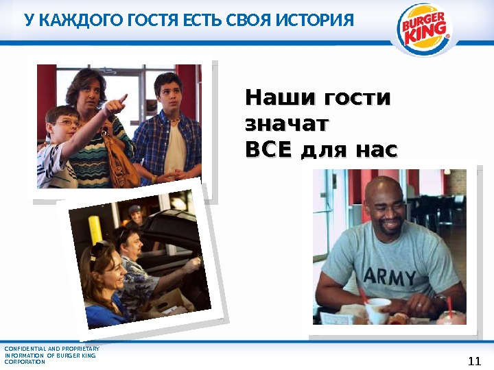 CONFIDENTIAL AND PROPRIETARY INFORMATION OF BURGER KING CORPORATION Наши гости значат ВСЕ для нас. У КАЖДОГО