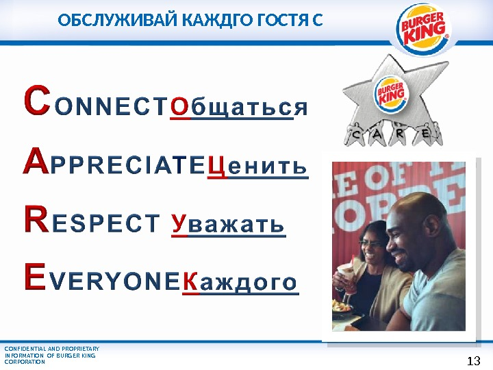 CONFIDENTIAL AND PROPRIETARY INFORMATION OF BURGER KING CORPORATION ОБСЛУЖИВАЙ КАЖДГО ГОСТЯ С 1 3
