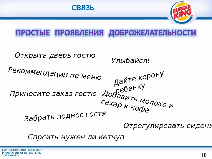 CONFIDENTIAL AND PROPRIETARY INFORMATION OF BURGER KING CORPORATION Принесите заказ гостю. Рекоммендации по меню Открыть дверь