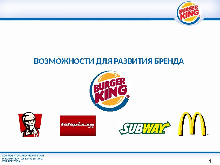 CONFIDENTIAL AND PROPRIETARY INFORMATION OF BURGER KING CORPORATION ВОЗМОЖНОСТИ ДЛЯ РАЗВИТИЯ БРЕНДА 4