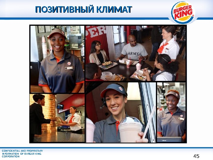 CONFIDENTIAL AND PROPRIETARY INFORMATION OF BURGER KING CORPORATION ПОЗИТИВНЫЙ КЛИМАТ Need graphic 45