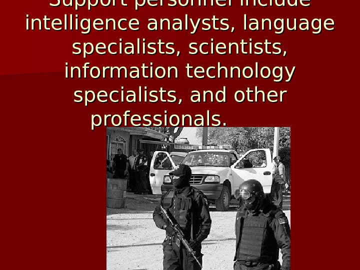 Support personnel include intelligence analysts, language specialists, scientists,  information technology specialists, and other professionals.