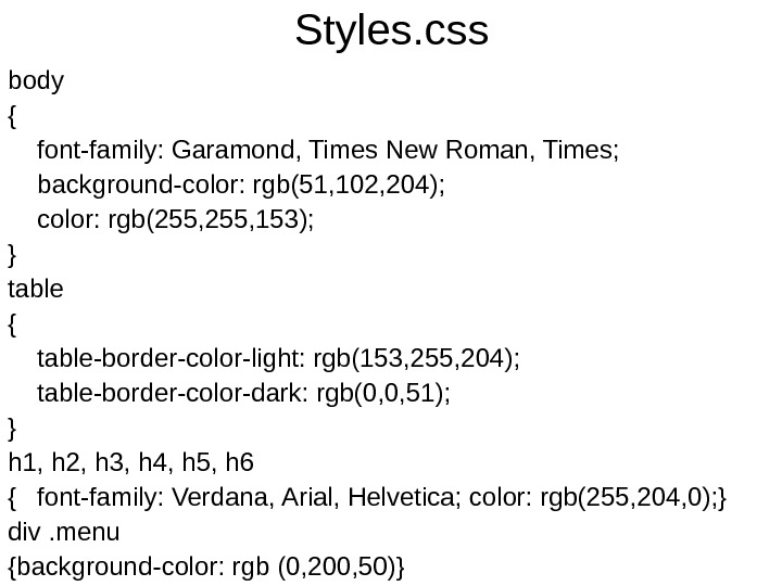 Styles. css body { font-family: Garamond, Times New Roman, Times; background-color: rgb(51, 102, 204);