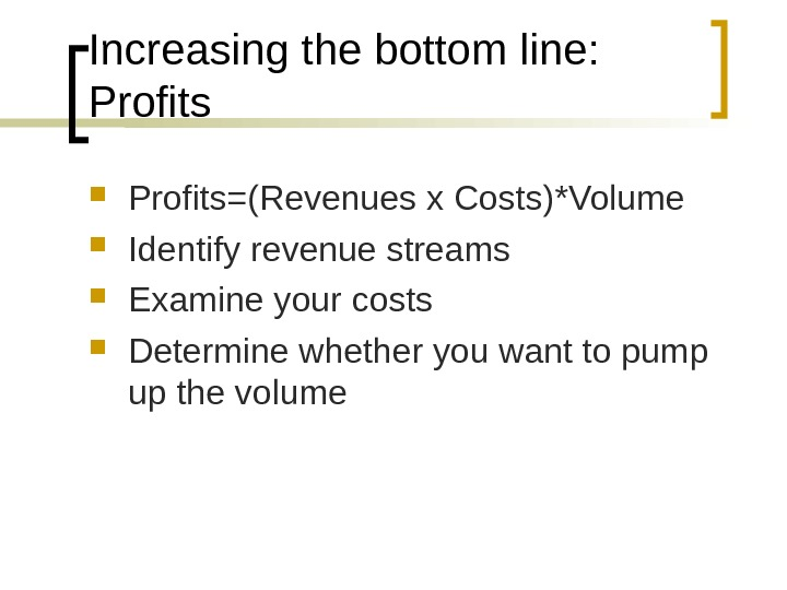 Increasing the bottom line:  Profits=(Revenues x Costs)*Volume Identify revenue streams Examine your costs Determine whether