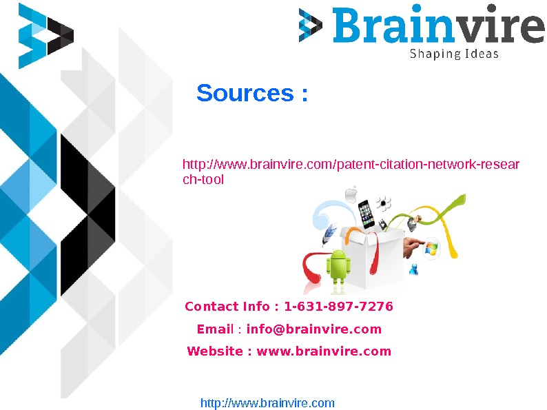Sources : http: //www. brainvire. com/patent-citation-network-resear ch-tool Contact Info : 1 -631 -897 -7276 Emai