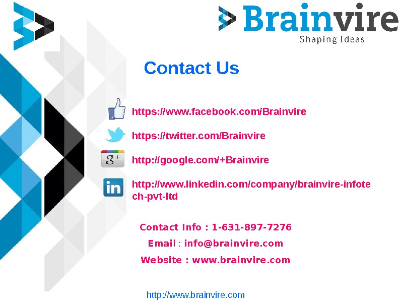 Contact Us https: //www. facebook. com/Brainvire https: //twitter. com/Brainvire http: //google. com/+Brainvire http: //www. linkedin.