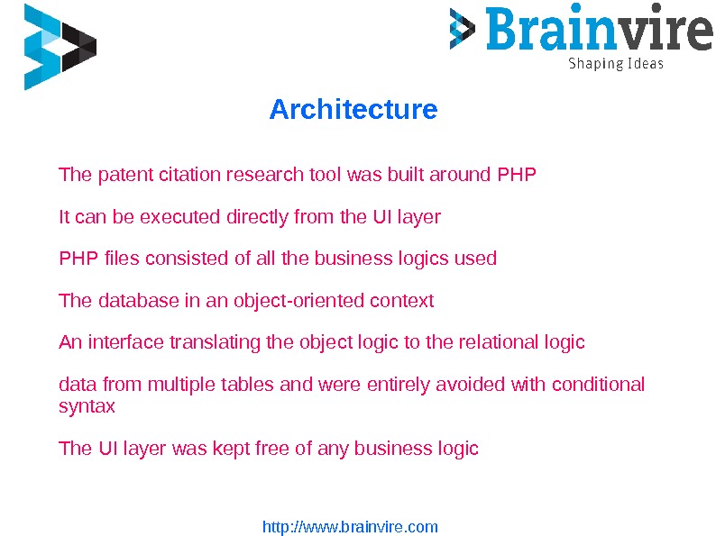 Architecture http: //www. brainvire. com. The patent citation research tool was built around PHP It