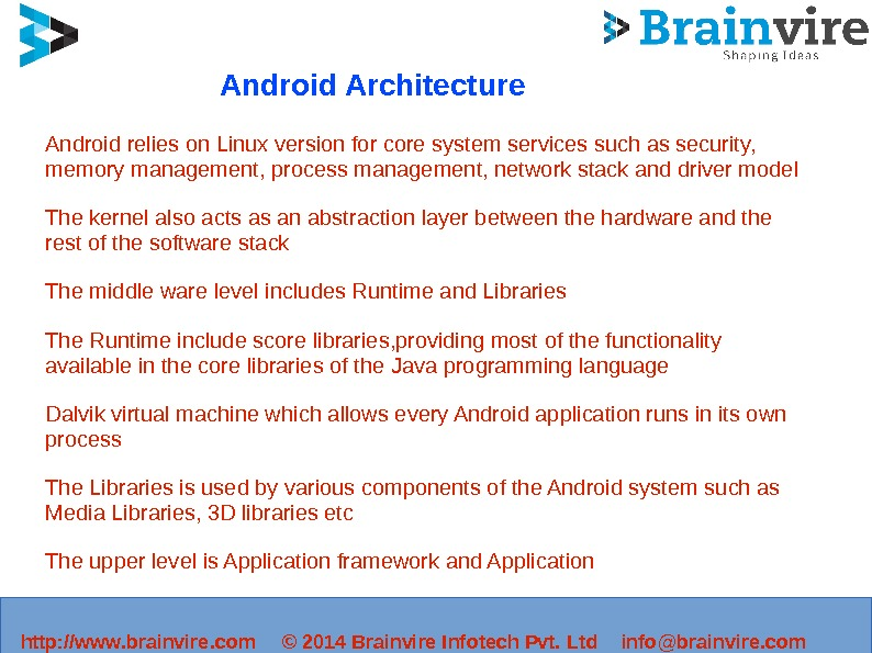 http: //www. brainvire. com © 2014 Brainvire Infotech Pvt. Ltd info@brainvire. com. Android Architecture