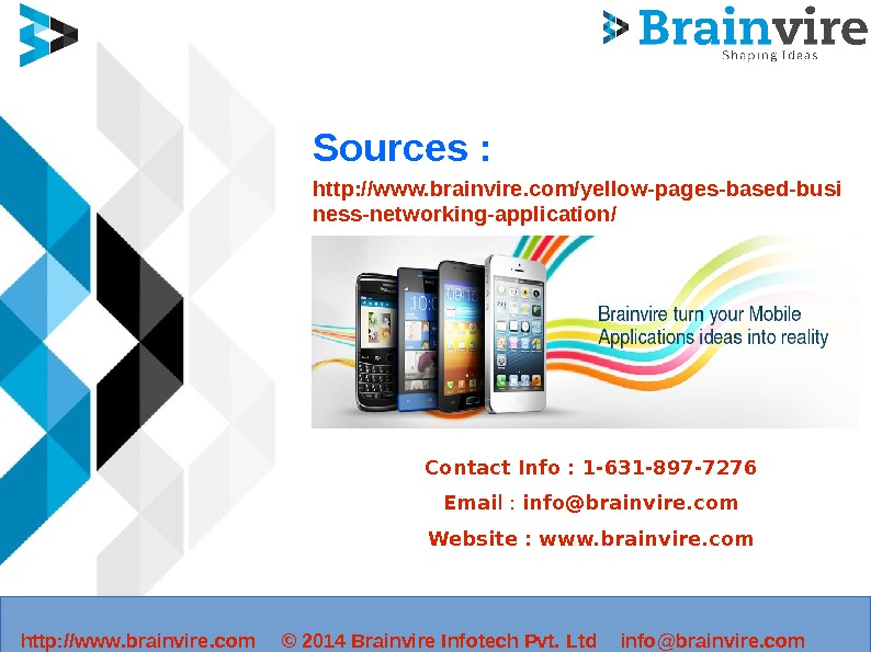 Sources : http: //www. brainvire. com/yellow-pages-based-busi ness-networking-application/ Contact Info : 1 -631 -897 -7276 Emai