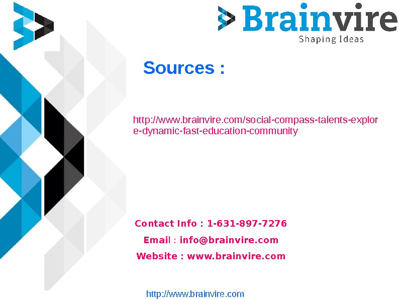 Sources : http: //www. brainvire. com/social-compass-talents-explor e-dynamic-fast-education-community Contact Info : 1 -631 -897 -7276 Emai