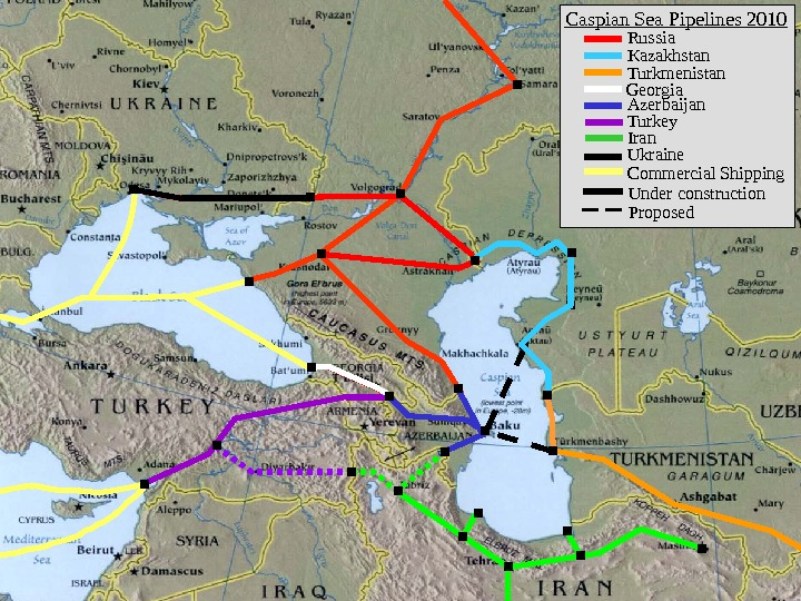 Russia Kazakhstan Turkmenistan Georgia Azerbaijan Turkey Iran Under construction. Caspian Sea Pipelines 2010 Ukraine