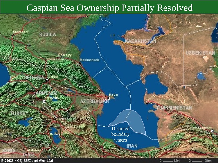 Disputed boundary waters. Caspian Sea Ownership Partially Resolved